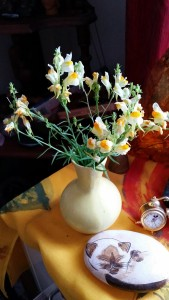 Butter and eggs in yellow vase 2